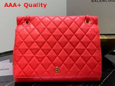 Balenciaga B Large Shoulder Bag in Red Quilted Nappa Calfskin Replica