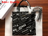 Balenciaga Bazar Shopper S Black Lambskin with Allover Printed Balenciaga Logo Replica
