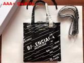 Balenciaga Bazar Shopper XS Black Lambskin with Allover Printed Balenciaga Logo Replica