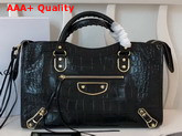 Balenciaga Classic Metallic Edge City Handbag Black Crocodile Effect Replica