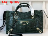Balenciaga Classic Metallic Edge City Handbag Green Crocodile Effect Replica