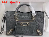Balenciaga Classic Metallic Edge City Handbag Grey Crocodile Effect Replica
