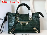 Balenciaga Classic Metallic Edge City S Green Crocodile Effect Replica