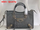 Balenciaga Classic Metallic Edge City S Grey Crocodile Effect Replica