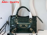 Balenciaga Classic Metallic Edge Mini City Green Crocodile Effect Replica