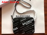 Balenciaga Everyday Camera Bag S Allover Balenciaga Printe Black Soft Calfskin Replica