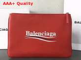 Balenciaga Everyday Pouch M Red Natural Leather Replica