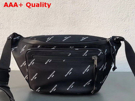 fa9dfcfa075 Balenciaga Explorer Belt Bag All Over Balenciaga Logo Print Canvas Black  Replica