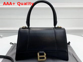 Balenciaga Hourglass Small Top Handle Bag in Black Shiny Box Calfskin Replica