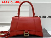 Balenciaga Hourglass Small Top Handle Bag in Red Shiny Box Calfskin Replica