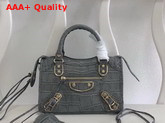 Balenciaga Mini Metallic Edge City Handbag Grey Crocodile Effect Replica