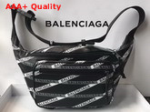 Balenciaga Monogram Explorer Beltpack Black and White Calfskin Belt Pack Replica