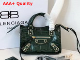 Balenciaga Nano Metallic Edge City Bag Green Crocodile Effect Replica