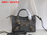 Balenciaga Nano Metallic Edge City Bag Grey Crocodile Effect Replica
