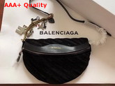 Balenciaga Souvenir Bag XS Black Velvet All Over Balenciaga Logo Replica