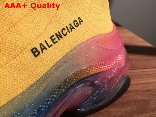 Balenciaga Speed Trainers in Yellow Knit with Multicolor Clear Sole Replica