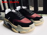 Balenciaga Triple S Trainers with Quilted Effect Black and Red Replica