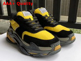 Balenciaga Triple S Trainers with Quilted Effect Black and Yellow Replica