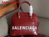 Balenciaga Ville Top Handle S Red Crocodile Embossed Leather Replica
