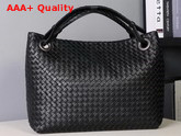 Bottega Veneta Medium Carda Bag in Black Nappa Leather Replica