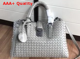 Bottega Veneta Small Roma Bag Light Grey Intrecciato Calf Leather Replica