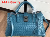 Bottega Veneta Small Roma Bag Ocean Green Intrecciato Calf Leather Replica