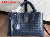 Bottega Veneta Small Roma Bag in Blue Intrecciato Calf Leather Replica