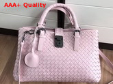 Bottega Veneta Small Roma Bag in Pink Intrecciato Calf Leather Replica