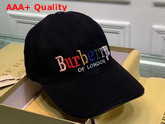 Burberry Baseball Cap Black Cotton Canvas Embroidered Logo Replica