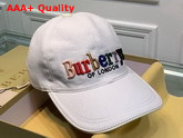 Burberry Baseball Cap White Cotton Canvas Embroidered Logo Replica