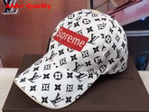Louis Vuitton Supreme Baseball Hat in White Monogram Denim Replica