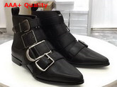 Burberry Buckle Detail Leather Ankle Boot in Black Calfskin Replica