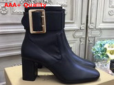 Burberry Buckle Detail Leather Ankle Boot in Black Lambskin Replica