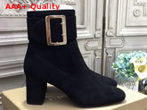Burberry Buckle Detail Leather Ankle Boot in Black Suede Replica