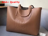 Burberry Embossed Monogram Motif Leather Tote in Camel Replica