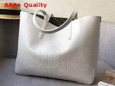 Burberry Embossed Monogram Motif Leather Tote in White Replica