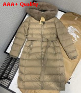 Burberry Fox Fur Trim Hooded Puffer Coat in Beige Replica