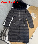 Burberry Fox Fur Trim Hooded Puffer Coat in Black Replica