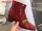 Burberry Link Detail Patent Leather Ankle Boots Burgundy Red Replica