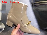 Burberry Link Detail Patent Leather Ankle Boots Taupe Grey Replica