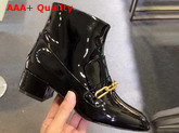 Burberry Link Detail Patent Leather Ankle Boots in Black Replica