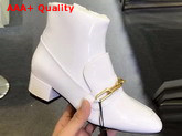 Burberry Link Detail Patent Leather Ankle Boots in White Replica