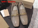 Burberry Link Detail Patent Leather Block Heel Loafers in Taupe Grey Replica