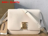 Burberry Medium Leather TB Bag in White Calf Leather Replica