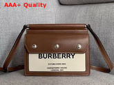 Burberry Mini Horseferry Print Title Bag with Pocket Detail Natural and Malt Brown Replica