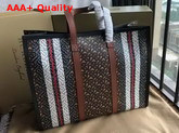 Burberry Monogram Stripe E Canvas Tote Bag Bridle Brown Replica