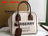 Burberry Small Horseferry Print Canvas Cube Bag in Beige Replica