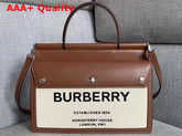 Burberry Small Horseferry Print Title Bag with Pocket Details Natural and Malt Brown Replica
