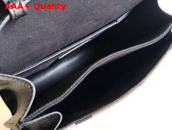 Burberry Small Leather and House Check Crossbody Bag Black Replica