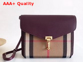 Burberry Small Leather and House Check Crossbody Bag Mahogany Red Replica
